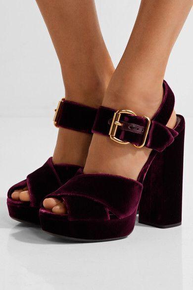 bb1233302b2f Prada - Velvet Platform Sandals - Burgundy