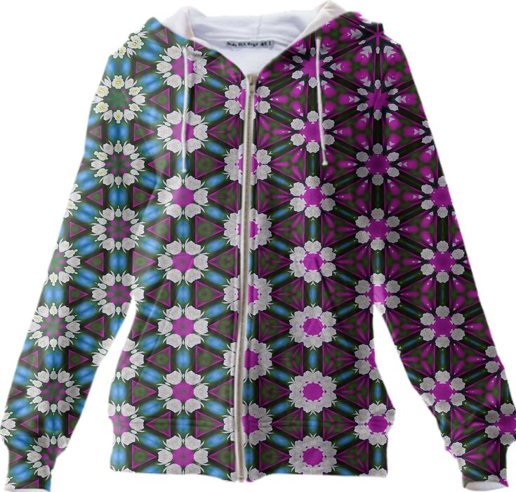 Abstract bright floral pink pattern ZIP UP HOODIE from Print All Over Me