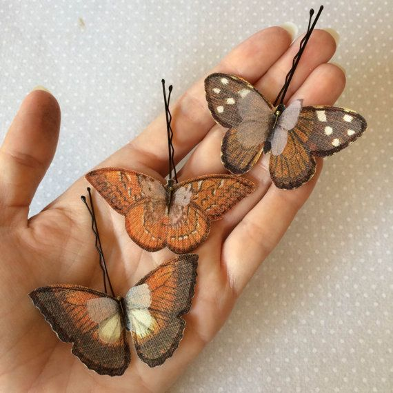 Soft - Handmade Cotton and Silk Organza Rust, Brown and Ivory Butterflies Hair Bobby Pin - 3 pieces