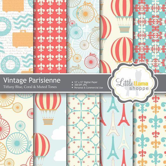 Vintage Scrapbook Paper Packs | Vintage Parisienne Digital Scrapbook Paper Pack in Tiffany Blue and ...