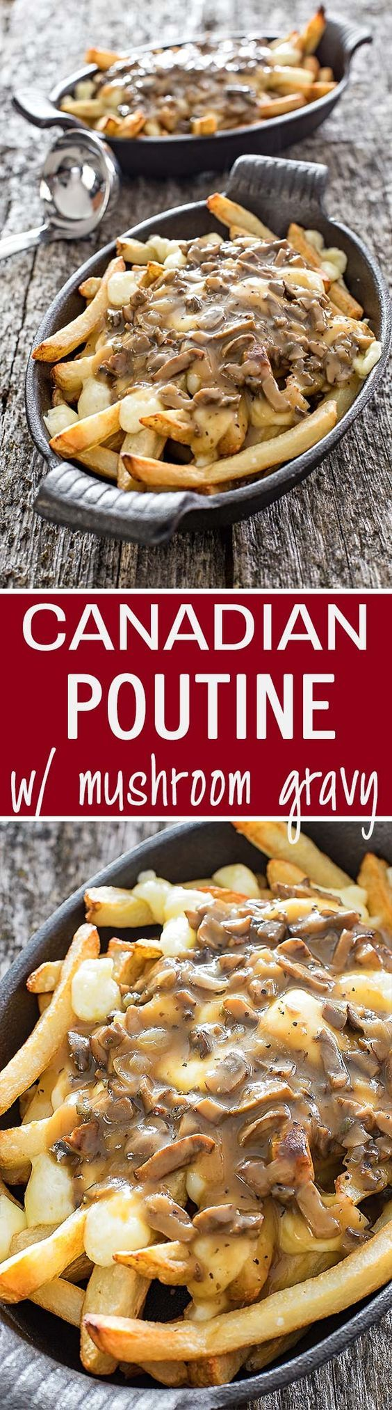 Poutine is the most popular Canadian fast-food dish, traditionally made using crispy french fries topped with cheese curds and delicious turkey or beef gravy.: