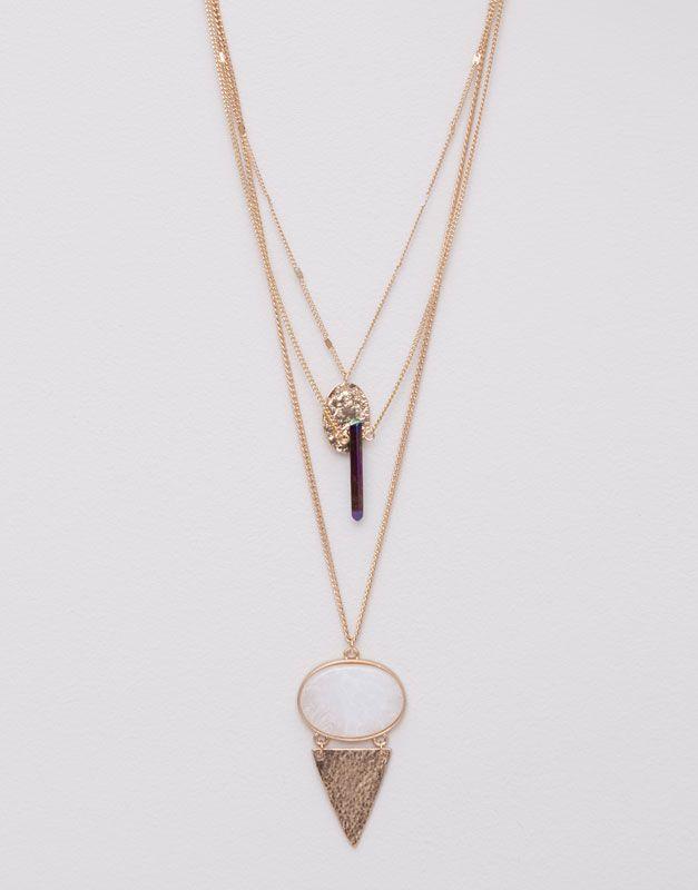 Pull&Bear - mulher - bijuteria - pack 3 colares moeda, ponta e seta - ouro - 05993354-V2015