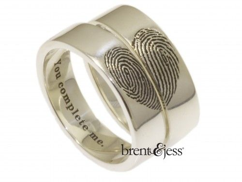 You Complete Me Fingerprints In Shape of Heart - Set of Wide Fingerprint Wedding Bands with Exterior Tip Prints in Sterling Silver - Custom handmade fingerprint jewelry by Brent&Jess
