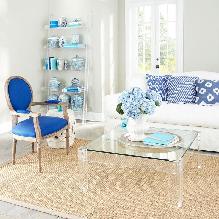 W7645Diamond Indigo Ikat Pillow Pillows & CushionsDecor, Coffe Tables, Coffee Tables, White Living, Blue, Livingroom, Living Room, Gardens Stools, White Room