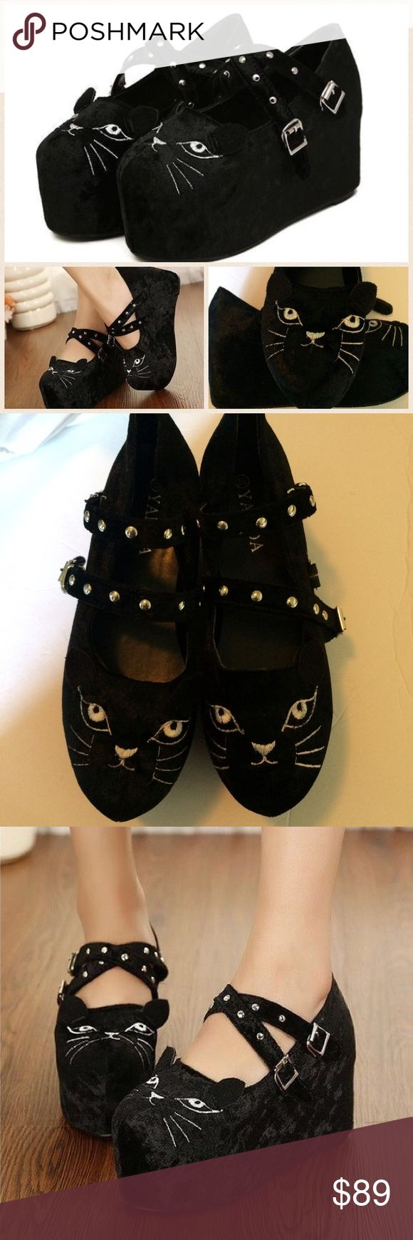 Velvet platform studded cat shoes !!! 8 The most amazing and ridiculous cat lady shoes you are likely to get your hands on!! Approx 9.5 long (size 8 but unmarked) velvet platform shoe . About 3.5 platform. Adorable cat design with moveable ears!!! Studded straps with hook closure . Puuurrrrrfect for your inner cat lady ( sorry, couldn't help it ) 😹 new never worn without box. yalida Shoes Platforms