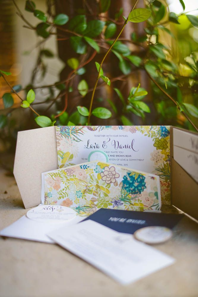 Lava owns her own business Lava Stationery and designed her invites using the Villa Botanica gardens for inspiration.