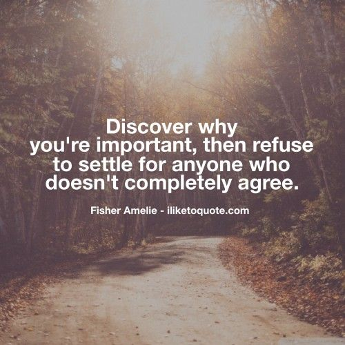 Discover why you're important, then refuse to settle for anyone who doesn't completely agree. - Fisher Amelie