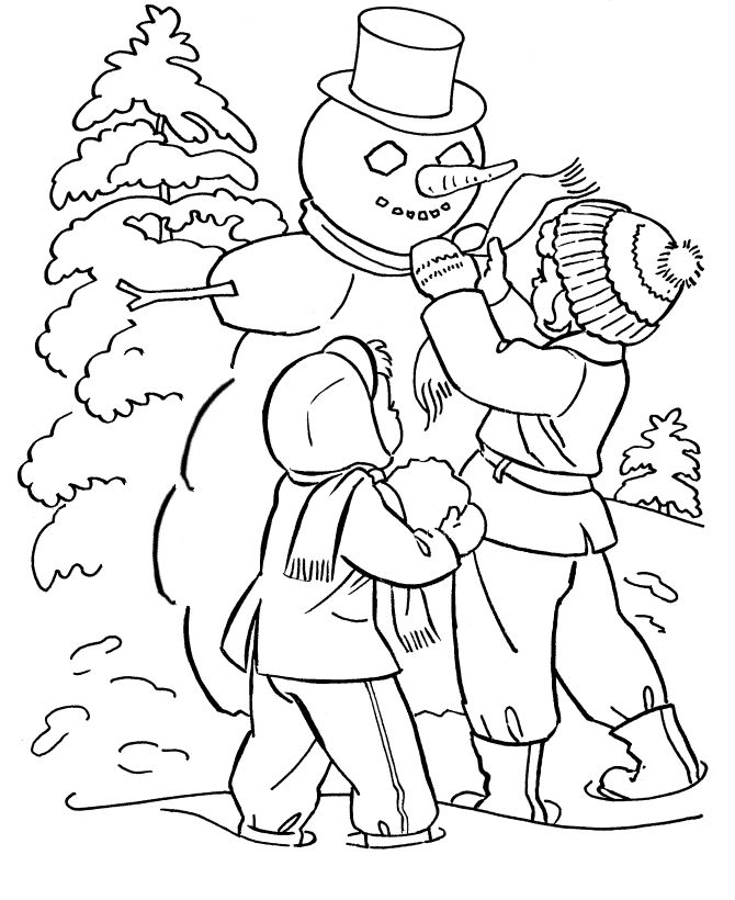 Mr Snowman On Christmas Touching A Snowflake Coloring Page: Winter Season Coloring Page