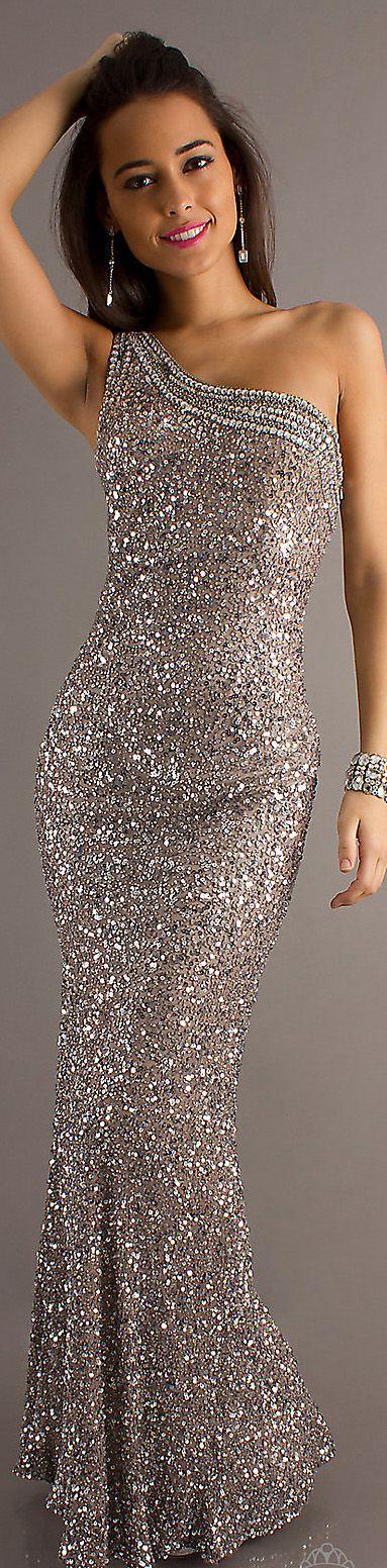 Formal long dress #oneshoulder #glitter #sparkly