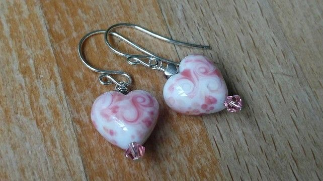 """Raspberry Ripple"" pink and white heart bead and sterling silver earrings £15.00"