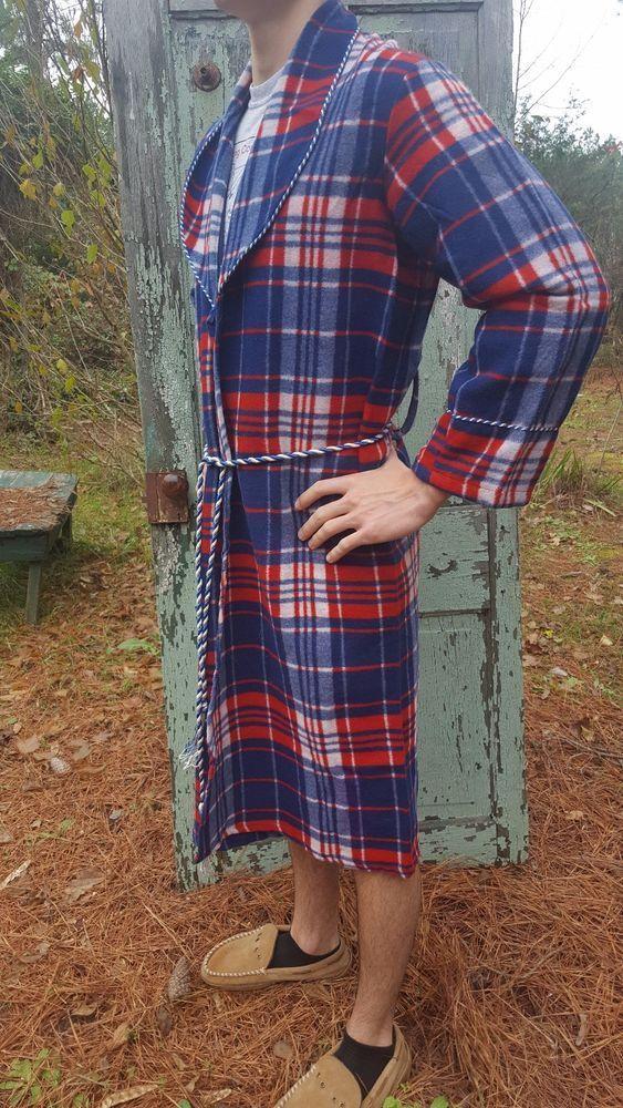 "Vintage 1950s Mens Plaid ""Beacon"" Camp Blanket Cloth Robe sz M USA Red Blue #Beacon #Robe #BowieRocks #CampingBlanket"
