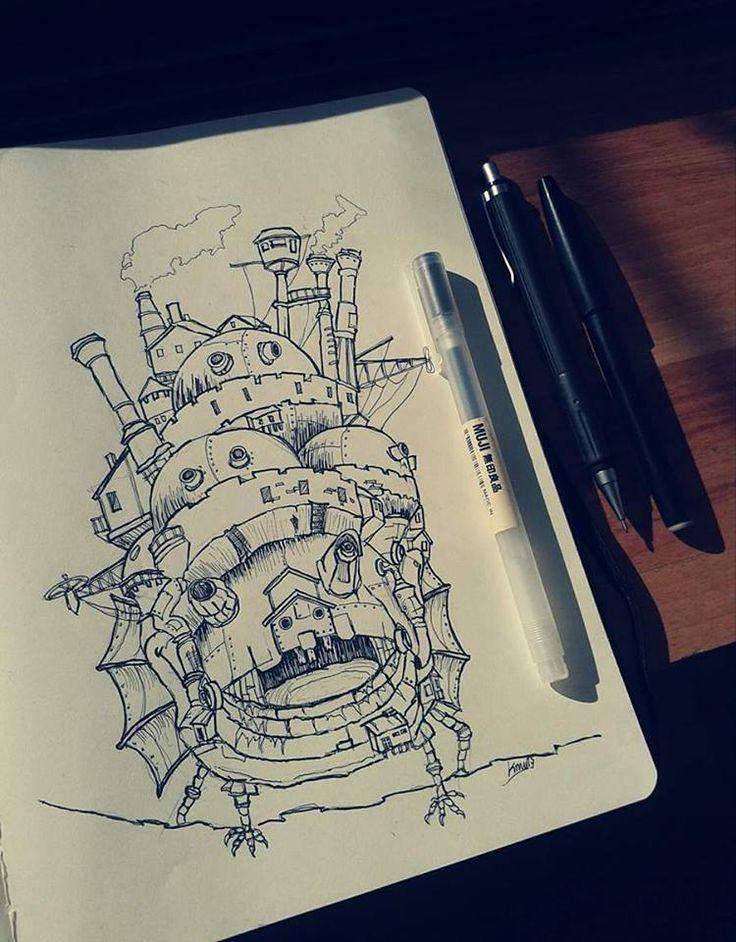 Ilustración, croquis vista frontal. Howl no Ugoku Shiro / ハウルの動く城 / El castillo ambulante -Studios Ghibli- (camiconcas /arq_cfcc)