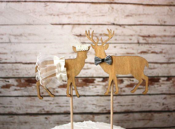 Buck and doe bride and groom-Bride in Ivory-deer wedding cake topper-hunting cake topper-deer wedding-rustic wedding