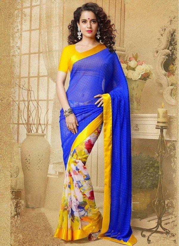 Kangana ranaut georgette lace work printed blue & yellow half & half saree