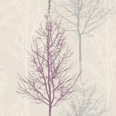 Heather Plum / Silver / Cream - 11001 - Bowland - Trees - Branches - Holden…