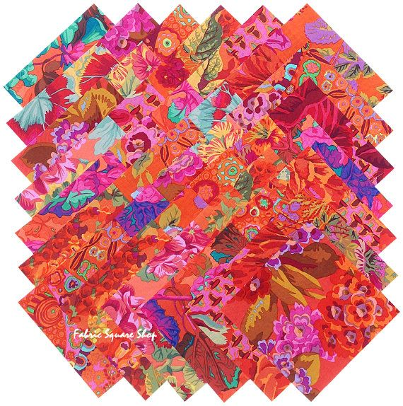 "Kaffe Fassett Philip Jacobs RED ORANGE Precut 5"" Fabric Quilting Cotton Squares Westminster Fibers"