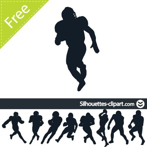 American Football Players Vector Silhouette Silhouettes