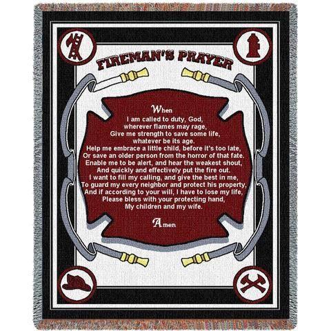 Fireman's Prayer Art Tapestry Throw