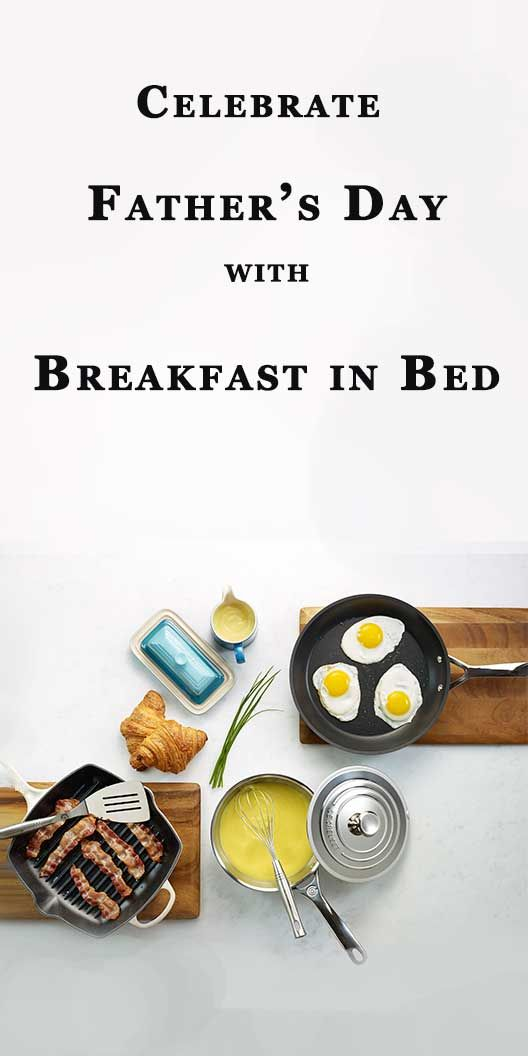 Celebrate Father's Day with Breakfast in Bed! Make delicious home made Hollandaise sauce, sunny side up eggs, bacon or maybe some flaky pastries. The Le Creuset cookware is perfect for creating delicious brunches that the whole family will enjoy. Serve brunch with the Le Creuset butter dish and creamer. Say thanks Dad with the french made iconic cast iron brand, Le Creuset.