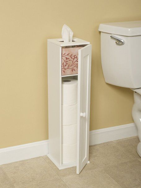 Amazon.com - Free Standing White Toilet Paper Bathroom Cabinet Holder