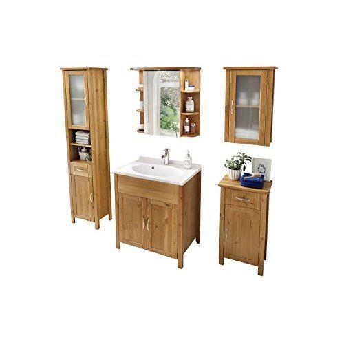 Woodkings® Hochschrank Leeston Echtholz Palisander Badhochschrank massiv Badmöbel Badezimmer Badezimmerhochschrank Badschrank Bad Wandschrank Massivholz