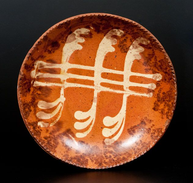 Pennsylvania Redware Plate with Yellow Slip and Brown Sponged Decoration -- July 19, 2014 Stoneware Auction by Crocker Farm, Inc.