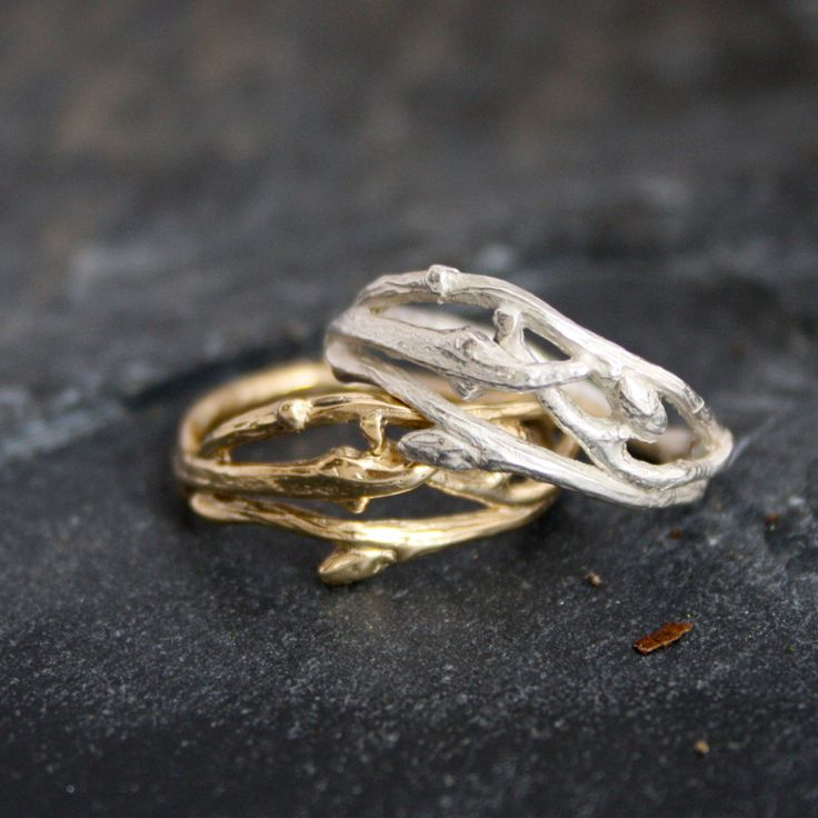 woodland branch twig wedding band or organic engagement ring twig wedding band branch ring organic wedding natural engagement ring - Hippie Wedding Rings