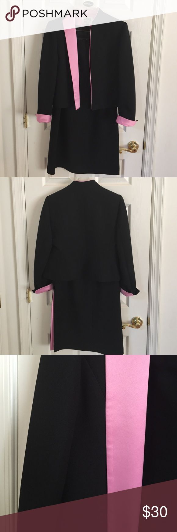 Timeless Kasper short suit jacket and long skirt Beautiful and simply timeless hot pink and black suit jacket and long skirt with matching pink lined side slit..eye catching accents silky soft..optional folding cuffs Kasper Other