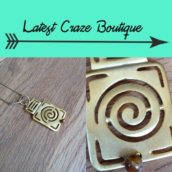 💥FINAL PRICE💥 Aztec Pendant Necklace 🖤 BUNDLE & SAVE 30% 🖤 Pendant has matte gold finish with small brown bead attached at the bottom, lobster claw clasp. NWOT! Latest Craze Boutique Jewelry Necklaces