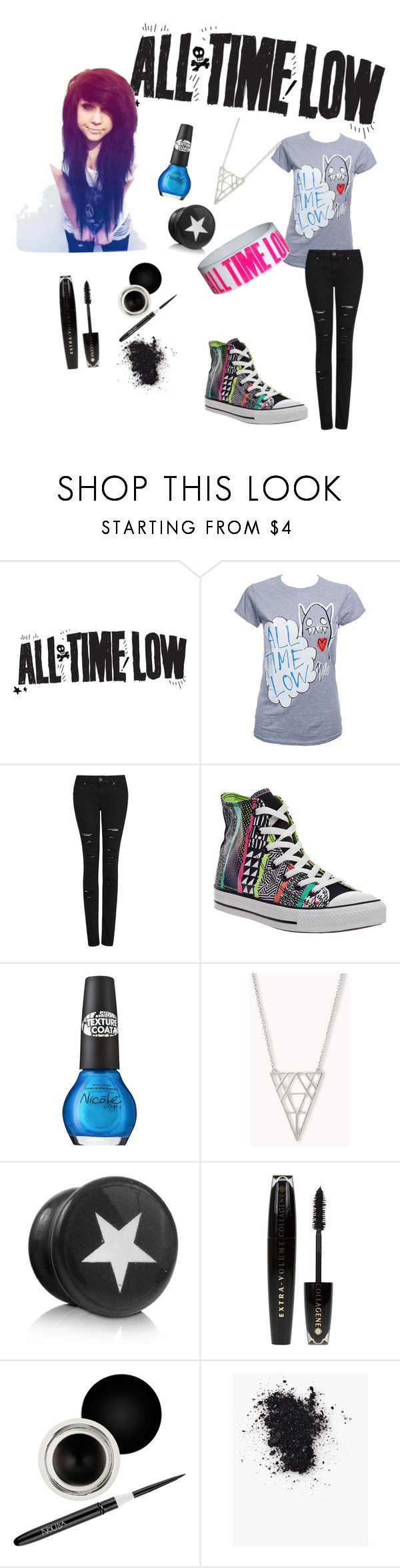 """All Time Low Scene Girl Outfit"" by infinityparadise ❤ liked on Polyvore featuring Coffee Shop, MANGO, Converse, OPI, Forever 21, L'Oréal Paris, Nouba, GetTheLook, SimpleOutfits and emo"