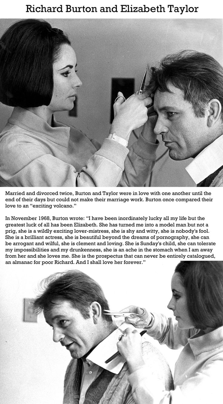"""The 50 Most Romantic Photographs of All Time.  Elizabeth Taylor and Richard Burton. Burton once compared their love to an """"exciting volcano""""."""