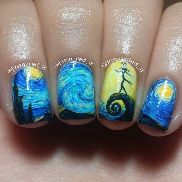 Jack Skellington Nail Art Inspired By The Starry Night Trendy Nails Hair And Cosmetics In 2018