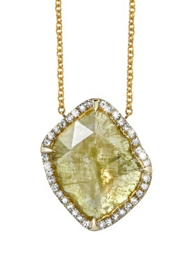 Sliced Diamond Necklace, Yellow Gold.