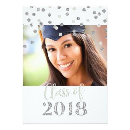 Silver Glitter Confetti Photo Graduation Party Card - graduation party invitations cards custom invitation card design party
