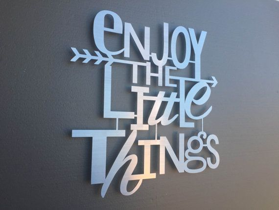 enjoy the little things metal wall art home decor wall art wall decor metal art metal sign silver art inspirational quote - Metal Signs Home Decor