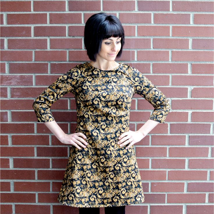 Tilly and the Buttons' Francoise Dress with raglan sleeves in medium weight stretch jacquard