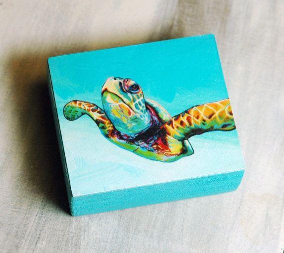 Green Sea Turtle Art Collectible - Original Art Block Print or Ornament - by Corina St. Martin