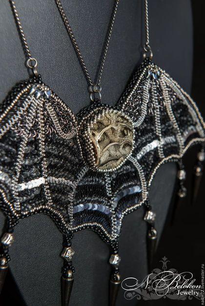 Купить Кулон Крылья летучей мыши - черный, серебряный, жеода, жеода симбирцита, симбирцитовая жеода