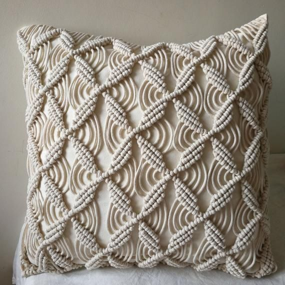 Beige and gray macrame  decorative pillow cover|Cushion|Throw pillow|Home Decor|Handcrafted|Gifts for her|Living room|Furniture