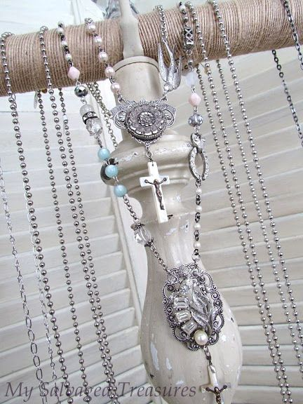 trash to treasure junk art repurposed old lamp into cutest jewelry display for your home, or craft booth, or store display