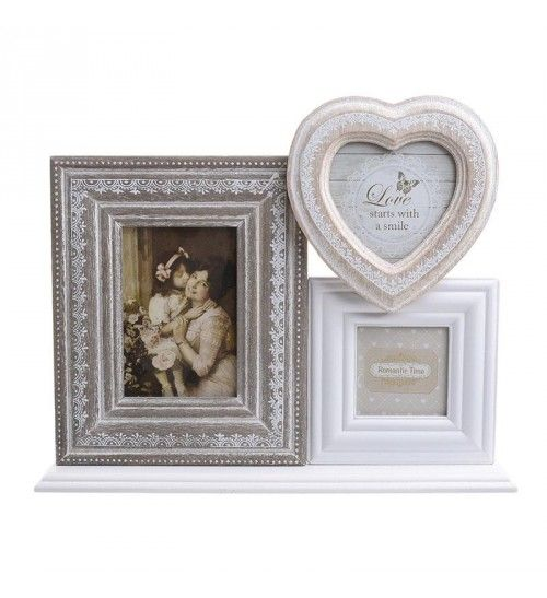 WOODEN PHOTO FRAME W_3 SECTIONS IN BEIGE_CREME 33_5X6_5X27