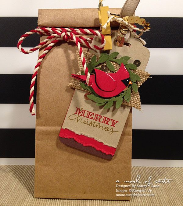 Easy Cardinal Gift Tag & Black Friday Deals 2014 #aworkofcarte #stampinup #birdbuilder #diychristmas #handmade
