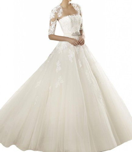 Gorgeous Bridal Elegant Half Sleeve Long Tulle Wedding Gown with Lace- US Size 4 Gorgeous Bridal,http://smile.amazon.com/dp/B00GSKHUCM/ref=cm_sw_r_pi_dp_SCKqtb0AVEQ68CDC