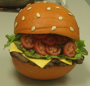 I honestly thought this was a burger with some weird looking bread.it's a  pumpkin!