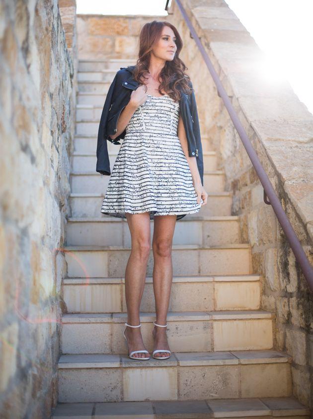 Parker dress, IRO navy leather jacket, Zara heels
