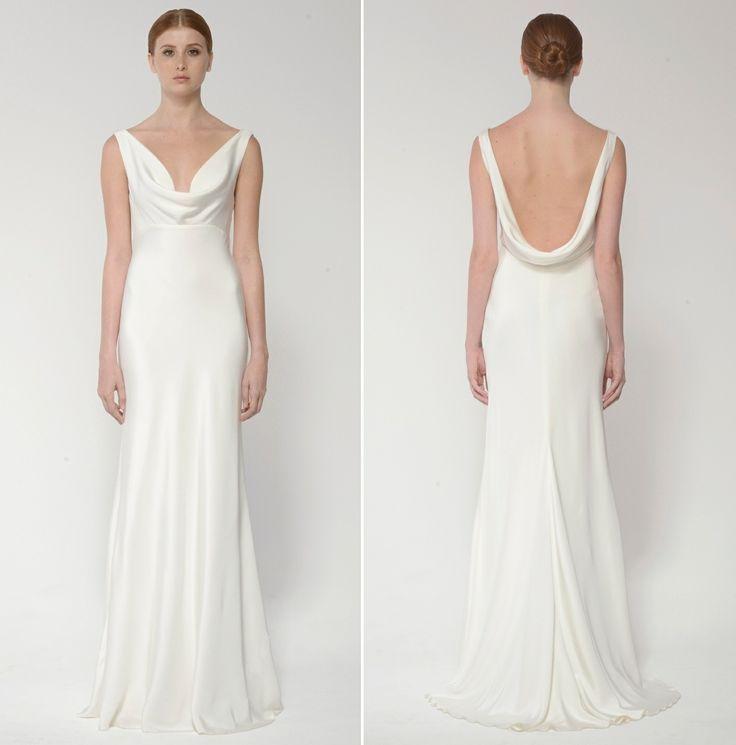 Cowl Neck Bridal Dress: Seashells & Wedding Bells