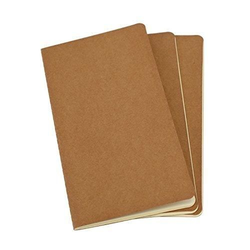 Twone Travel Journal Set With 3 Notebook Journals for Travelers - Kraft Brown Soft Cover - H5 Size - 210 mm x 112 mm - 60 Pages