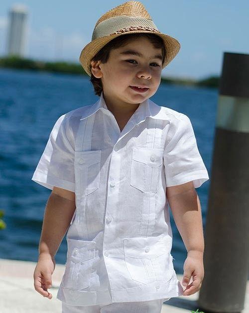 Shirt Cuban Guayabera for kids. Short Sleeve. White.