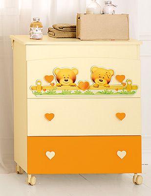 bagnetto fasciatoio Cuore panna/arancio #baby #crib #cot