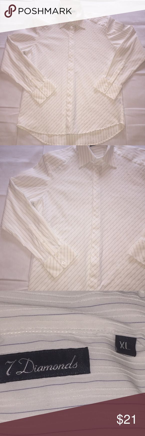 "7 DIAMONDS White Blue Striped Texture XL  Shirt 7 DIAMONDS White Blue Striped Tonal Texture XL Mens Shirt Measurements  Length 32"" Armpit to armpit 22"" 7 Diamonds Shirts Casual Button Down Shirts"